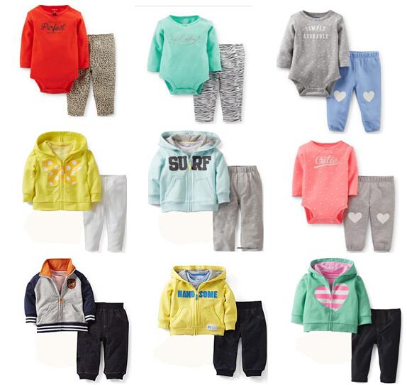 TZ-228 Free shipping 2014 New original Carter's Baby Boy Set 2 pcs set zipfront cloth hooded coat+pull-on pants bodysuits retail