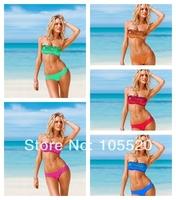 Newest Sexy Women Bikini Swimwear Sequin Glitz Shining Tube Top & Bottom Swimsuit Bathing Suit Girls Swimming T85