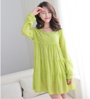 Elegant Chiffon Cloak Type Double Layer Elastic Knitted Lining One-Piece Chiffon Dresses