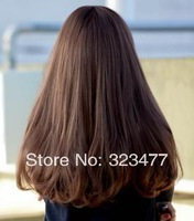 Free Shipping 2014 New Long Brown/Black Heat Resistant Anime Cosplay Synthetic Wavy Hair U Party Wigs for Women/Girls