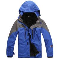Brand Men's Outdoor Double Layer Waterproof Climbing Skiing 2 in 1 Jacket Sportwear hiking windbreaker