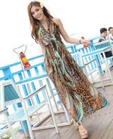 2014 summer sexy deep v-neck bohemia girl print beach long dress vestido bohemio de la playa