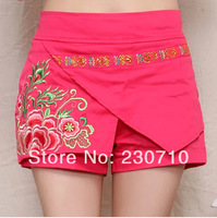 2014 summer new Embroidered shorts Fashion wild Culottes Slim was thin Free shipping FZ 301