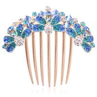 New Grade crystal  fashion hair accessories women beautiful peacock plug comb