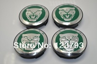 Free shipping Green  Background JAGUAR logo Wheel Center Caps Emblem For JAGUAR X TYPE WHeel Rims