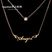 Free Shipping~SUMMER&SPRING SHOW New Jewelry Fashion Trendy Angel Double Chain 18K Rose Gold Plated Chocker Necklace