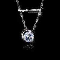 FREE SHIPPING~New Jewelry Fashion 925 Silver Sterling AAA Shining Circle Women Necklace