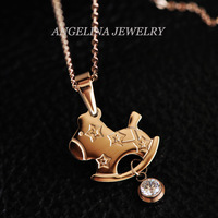 Free Shipping~New Arrival Jewelry Fashion 18k Rose Gold Plated Cute Small Horse Stars Choker Necklace