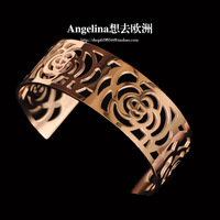 Free Shipping~New Jewelry Fashion 18k Rose Gold Plated Pure Clean Hollow Camellias Women Elegant Bangle