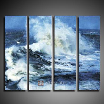 pinturas feitas à mão 4 peças a óleo da paisagem na parede da lona de arte do oceano seascape onda quadros para sala de estar presente original(China (Mainland))