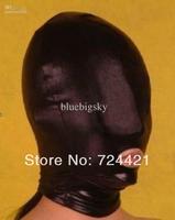 Wholesale - S-XXL Lycra spandex Zentai Black metallic mask/hood ,had a zipper on the back!!!