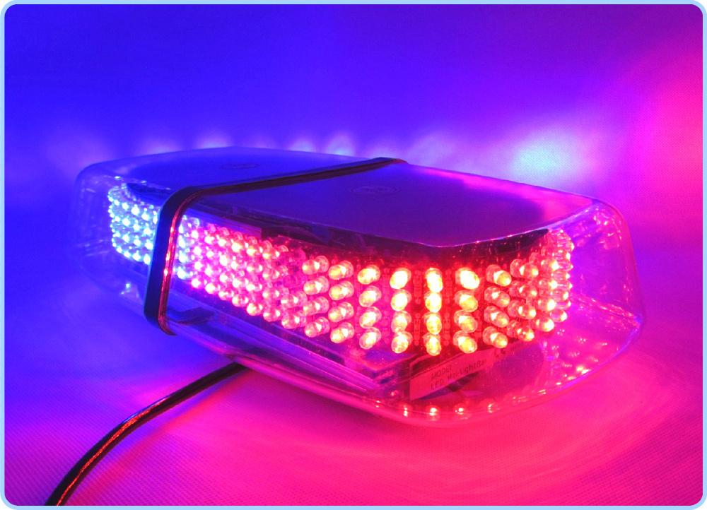 Free Shipping RED & BLUE Emergency Hazard Warning 240 LEDs Mini bar Strobe Flash Light w/ Magnetic Base Police lights DC 12V(China (Mainland))