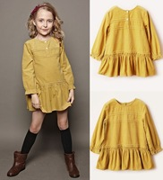 Free Shipping,1pcs/lot,2014 new girl's long sleeves dresses,children brand Falbala corduroy design girl's dress,2-12year,yellow