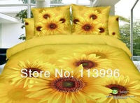 shinning yellow sunflower floral bedding set active printing 100 cotton queen full bed sheet coverlets duvet quilt cover sets