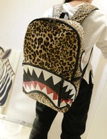 2014 3D printing backpack Shark leopard school animal Mochila aeropostale kids bolsas femininas children cartoon bag Men women