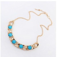 2014 New hot sale Chunky Necklace Gold Color CCB Big Chain Necklaces & Pendants for Women Jewelry