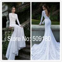 Elegent white lace long sleeve deep V back long trial customized floor length wedding gown design PX171 gowns de novia