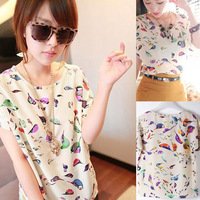 Drop shipping 2014 NEW Spring Colorful Bird Heart Print Lady's Chiffon Loose Batwing Casual Short Shirt Blouse FNY 9121