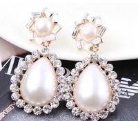 Free Shipping 2013 Elegant Big Full Rhinestones Waterdrop Pearl Dangle Drop Earrings for OL Women Accessories 18K Gold Plating
