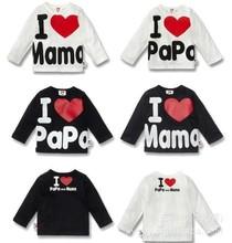 Venta al por menor ! Amo Papá y Mamá , primavera otoño Bebés y Niños 100 % camisas de algodón T -shirt Niños Niñas Camisetas de manga larga Camisetas(China (Mainland))