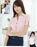 2014 women v-neck fashion short-sleeved frock shirt office lady cotton blouse white&blue&pink S-2XL WY189