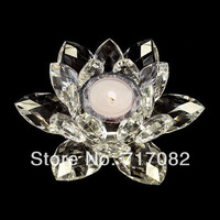 Free shipping 14cm crystal lotus flower candle holder wedding and home decoration gift
