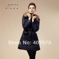 free shipping &SITI winter jackets Women real fur Raccoon Slim Down Coat Jacket down parkas High Quality Fashion Black Blue