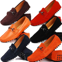 US6-12 New REAL Leather Suede Leather Casual SLIP-ON Loafers mens driving car shoes moccasin boot 12 colors