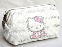 HELLO KITTY COSMETIC BAGS MAKEUP BAG COSMETICS CASE ORGANIZER CLUTCH - WHITE & PRINTED