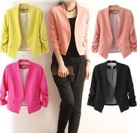 2014 blazer feminino women puff sleeve candy suits for women blazers autumn coat hot wholesale free shipping