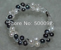 Genuine white and black cultured freshwater pearl Bracelet Magnetic clasp