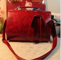 2014 japanese style vintage box cutout stencilling bow small fresh women's cross-body shoulder bag handbag