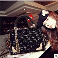 2014 trend leopard print paillette bag knitted handbag square bag one shoulder cross-body bags