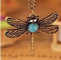 N379 Hot Sale New Fashion Vintage Hollow Dragonfly Pendants Necklaces Jewelry Accessories Wholesales