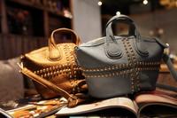 2014 Women Bag Rivet Handbag Fashion Woman's Rivet Shoulder Bag PU Leather Free Shipping