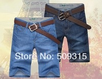 2014 men's jeans clothing Free shipping Summer thin straigth jeans men short pants slim jeans male hot