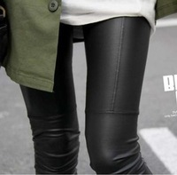 Spring and autumn leather faux leather patchwork legging elastic ankle length trousers repair leather pants female