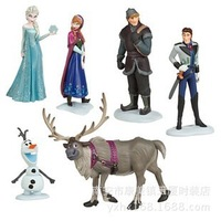 Free Shipping 5 Sets ( 6pcs = 1set )Frozen Figure  Set Anna Elsa Hans Kristoff Sven Olaf loose figure lovely gift