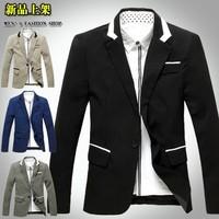 2014 New Fashion Casual men's suits Men's jacket Slim mens Jacket men's Coat black 2398