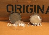 Free ship!!! 25mm Half Round Glass Vial Dome & 25mm Blank Base Set DIY Glass globe bottle Pendant glass bottle Jewelry findings
