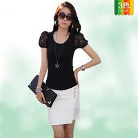 2014 New arrive T-shirt  lace blouse women lace shirt women lace blouse crochet lace top 3 colors.