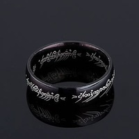 Men Jewelry The Lord Of Ring Black Titanium Steel Alloy Rings 4mm Free Shipping On $15 Order
