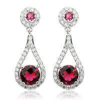 New CZ Earrings Red Cubic Zirconia Elegant Bridal Drop Earrings four color options