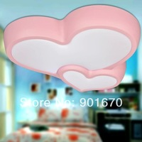 Free Shipping Children room Ceiling light fashion two heart LED lamp pink blue corridor balcony bedroom living room lighting