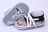 Free shipping 2014 new style boy shoes new born baby prewalker soft soles shoes fashion plaid baby shoes