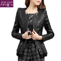 2015 leather jacket women spring and autumn women coat o-neck PU clothing female short coat slim design plus size m-3xl 4xl 15