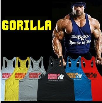 gorila profissional desgaste top clássico dos homens muscular tops para ginásio fitness musculação& 100% algodão solta fato de treino(China (Mainland))