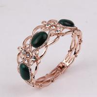 2014 Elegant Rose Gold Green Cats eye Design Bracelet Chain New V059709U-005