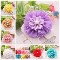 Hair Accessories DIY flower for baby girls headbands chiffon shabby with satin ribbon flower Vintage Chiffon flowers 150PCS