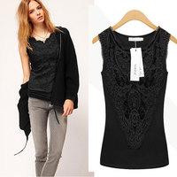 2014 Summer Tops Embroidery Crochet Vest Lace Shirt Solid Cape Hollow out Blouse Women XL XXL XXXL XXXXL Beige Black White N084